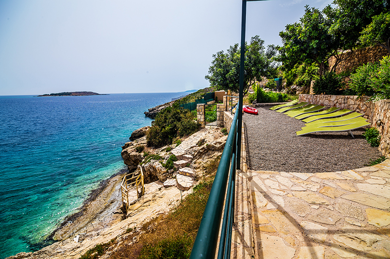 Private beach of a villa overlooking Loutraki bay, Crete