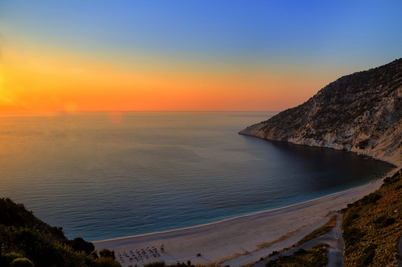Wonderful sunset in Myrtos beach, Kefalonia