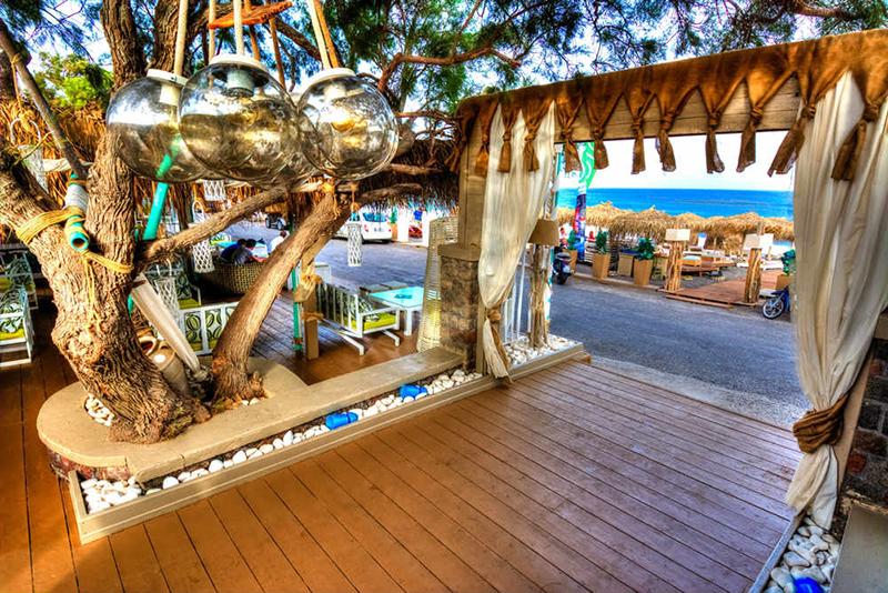 Beach bar in Santorini