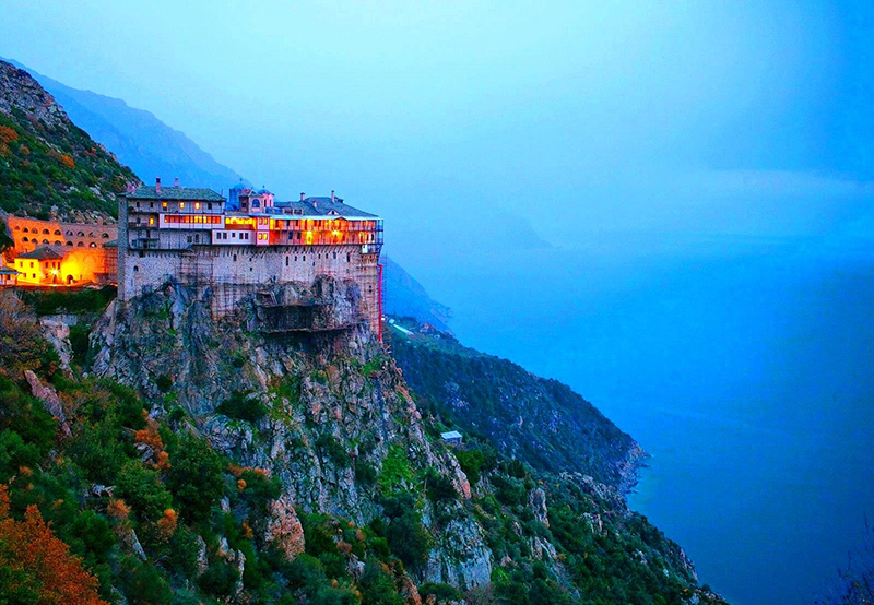 The breathtaking view of Mount Athos in Chalkidiki