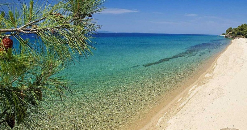 The popular Polycgrono beach in Chalkidiki