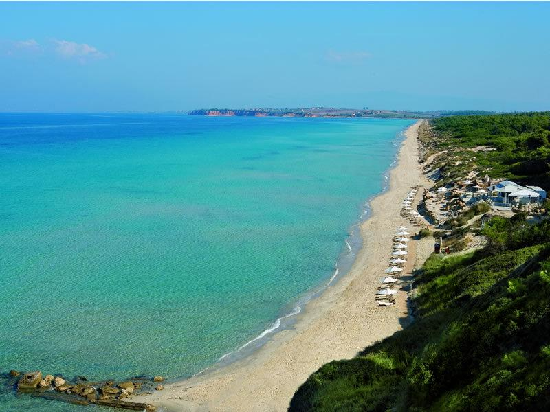 The long Sani Beach in Nea Fokea village, Chalkidiki