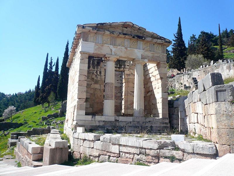 The Treasure of Athenians in Delphi, Greece