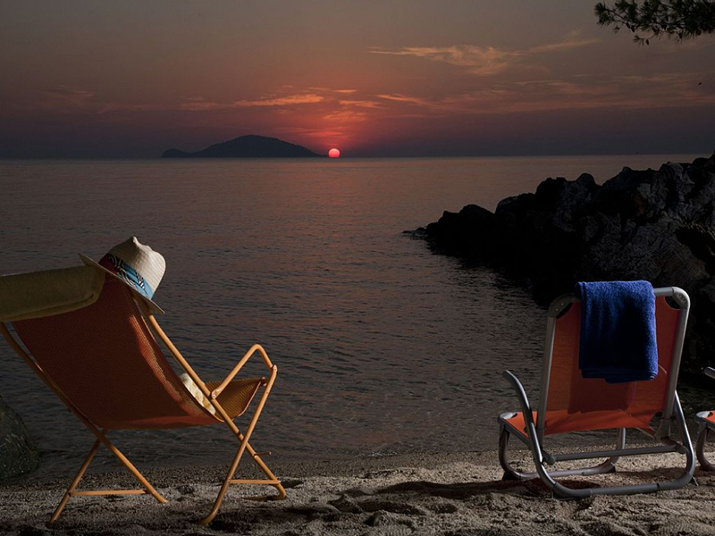 Enjoy the sunset from the private beach of your pool villa in Chalkidiki