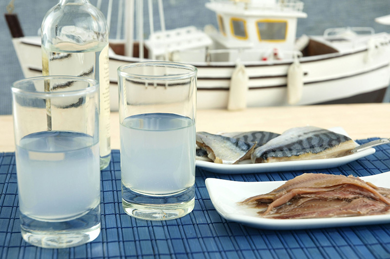 Ouzo is combined with sea food